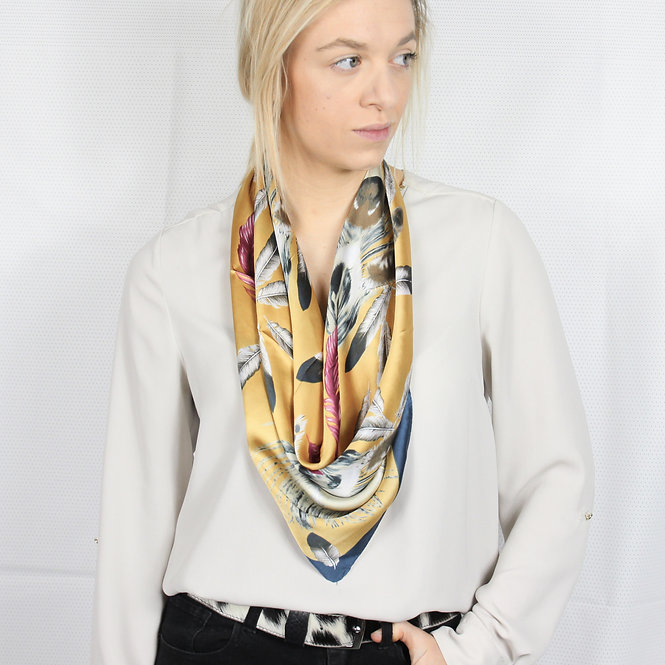 Mustard Feather Square Scarf