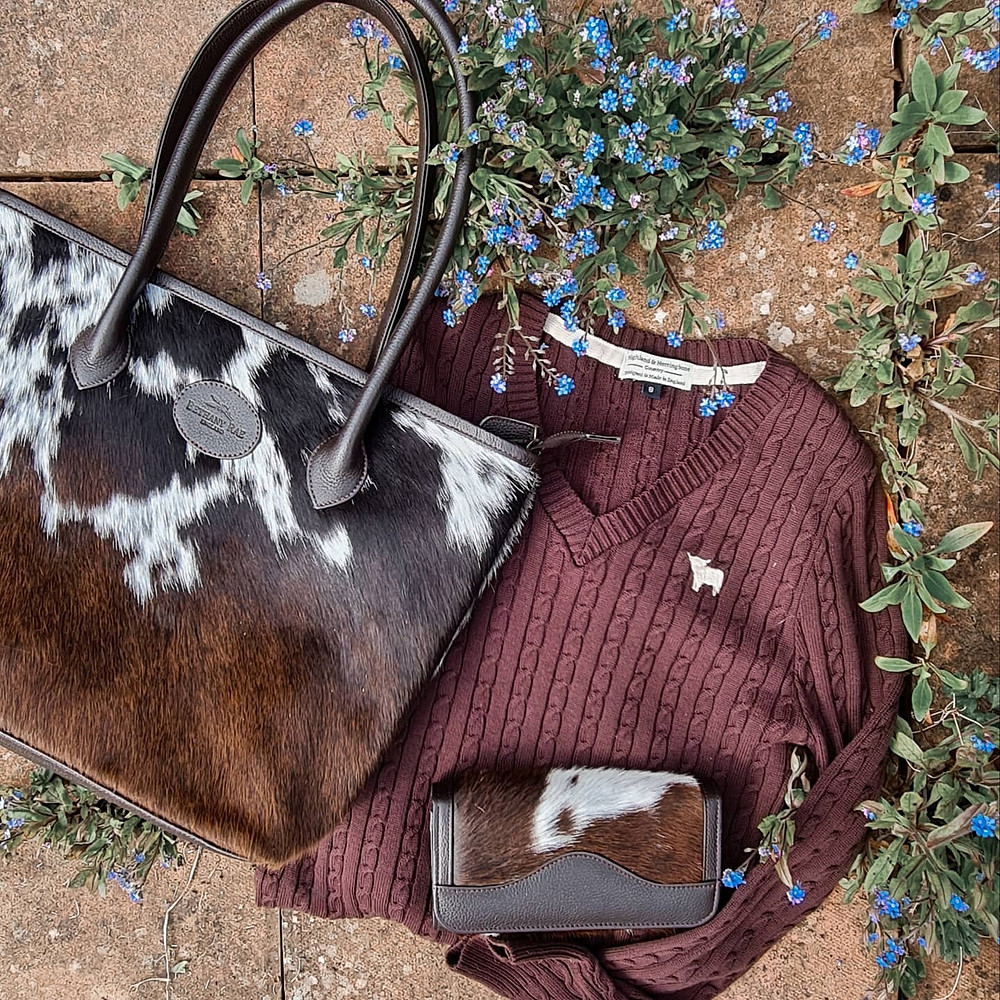Highland and Herringbone Dress with our Upton Cowhide Handbag & Lytchett Cowhide Purse