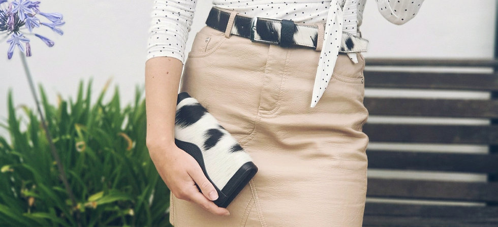 Cowhide Cow Print Hyde Purse, Belt