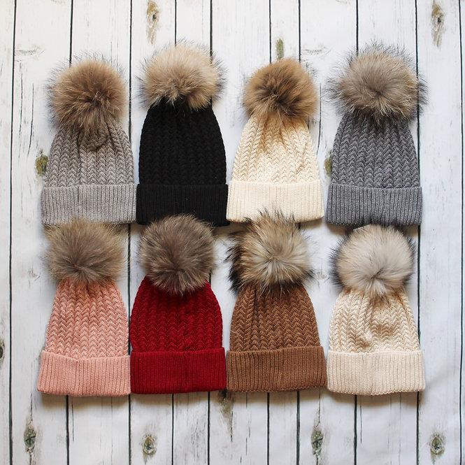 Fur Pom Pom Bobble Hats