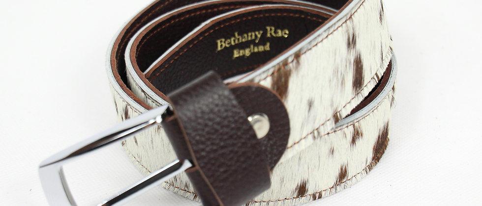 The Blandford Cowhide Belt - Cream/Brown