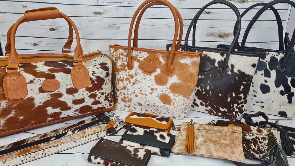 Cowhide Accessories - cowhide bag, cowhide duffel bag, cowhide belt, cowhide purse, leather bethany rae