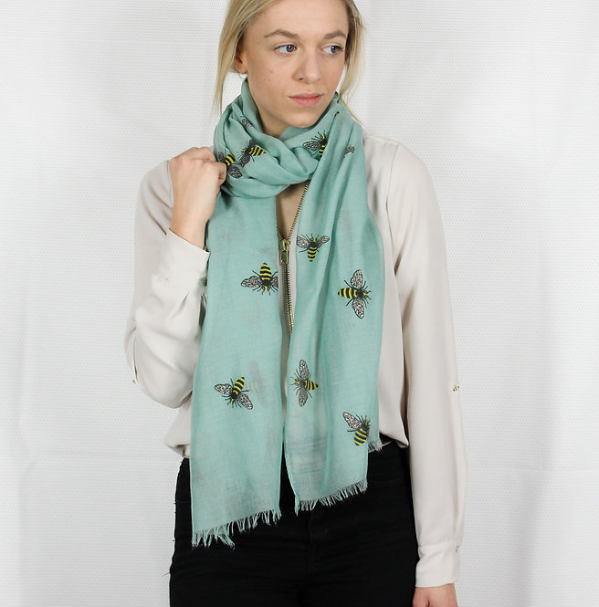Teal Bumble Bee Scarf
