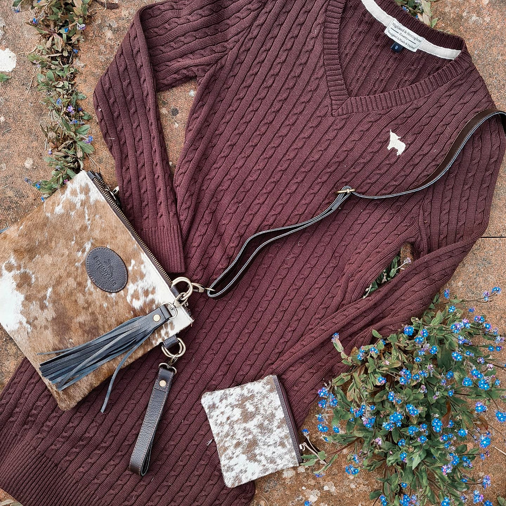 Highland & Herringbone Argyll Dress with our Tarrant Cowhide Multiway Shoulder bag & Charlton Cowhide Coin Purse