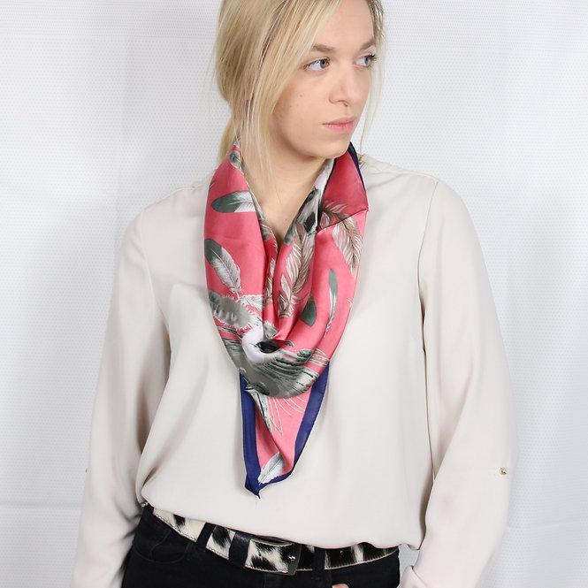 Coral Feather Square Scarf