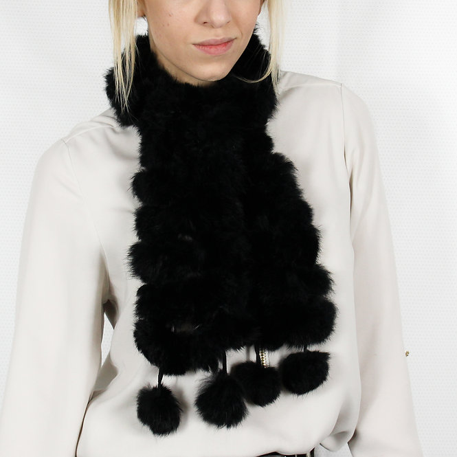 Black Rabbit Fur Pom Scarf