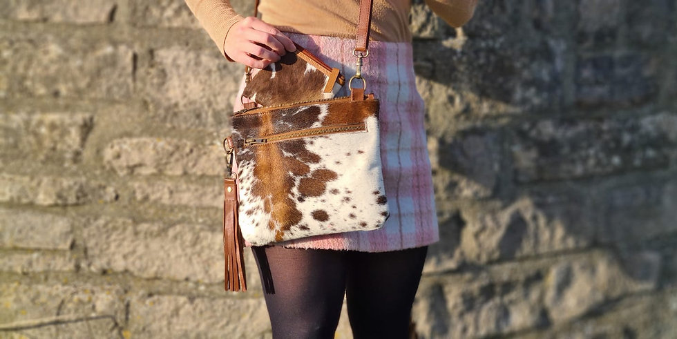 Cowhide Shoulder Bag, Leather Clutch Bag