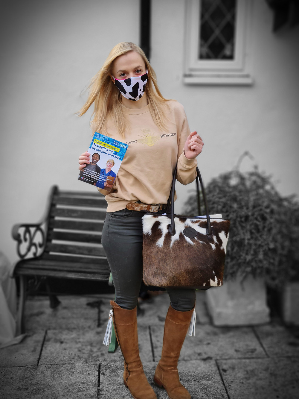 Bethany getting her COVID 19 vaccine wearing the Upton Cowhide Leather Handbag & Fairfax and Favor Boots
