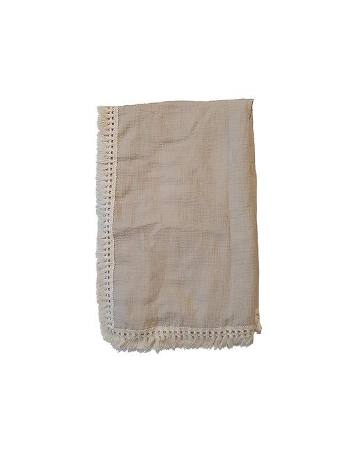 Muslin Tassel Baby Wrap - Beige