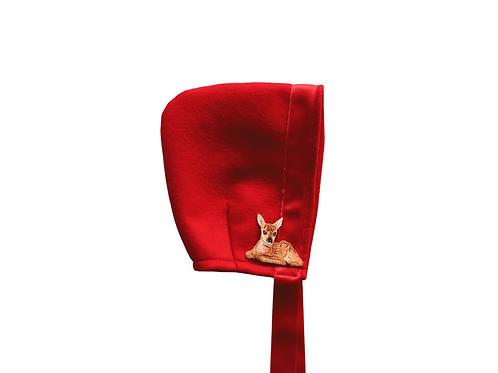 Woodland Felt Bonnet - Red