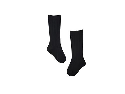 Knee High Ribbed Socks - Black
