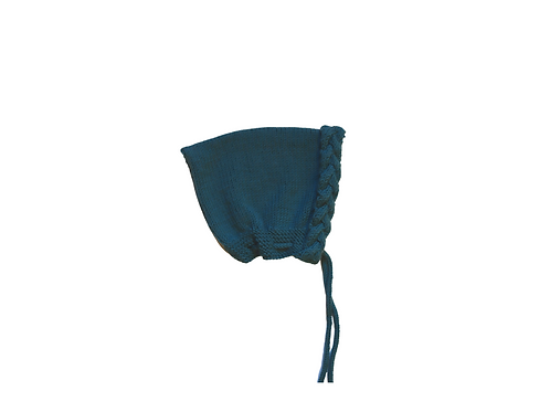 Hand Knitted Wool Cable Pixi Bonnet Teal 3-6mths