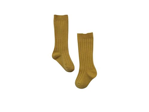 Knee High Ribbed Socks - Mustard