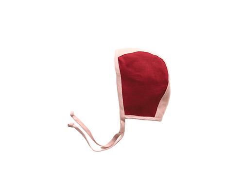 Two Tone Reversible Linen Helmet Bonnet -Bespoke x 5