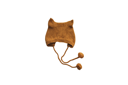 Kitty Pom Bonnet Mustard Wool 12-18mths