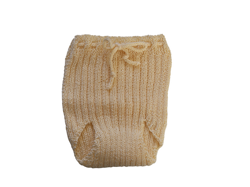 Knitted Ribbed Pilchers Cream Cotton 0-3mths