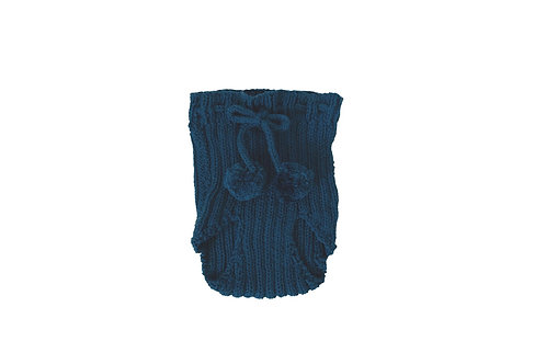 Hand Knitted Ribbed Pom Pilchers Blue 0-6mths