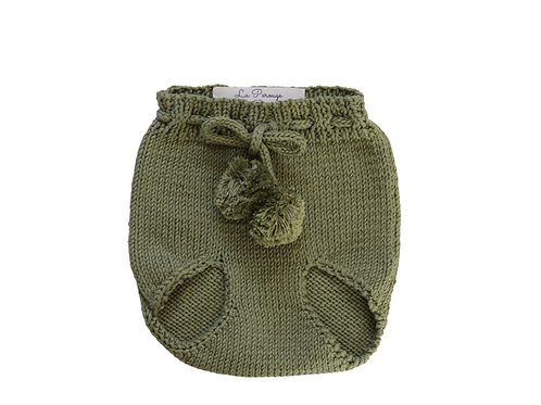 Knitted Pom Pilchers/Bloomers Green 0-6mths