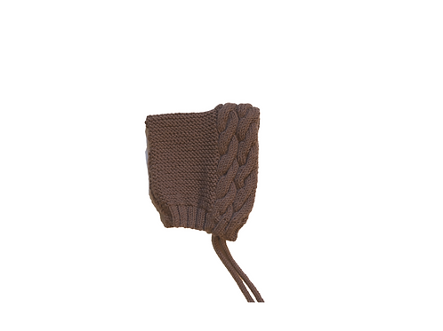 Double Cable Knitted Bonnet Brown Oatmeal 3-6mths