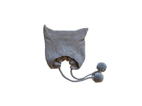 Hand Knitted Angora Kitty Bonnet - Smokey Blue 6-12mths