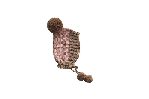 Hand Knitted Axel Bonnet - Pink & Beige 18-24mths