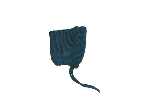 Hand Knitted Wool Double Cable Pixi Bonnet Teal 3-6mths