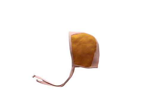 Two Tone Reversible Linen Helmet Bonnet - Mustard & Blush