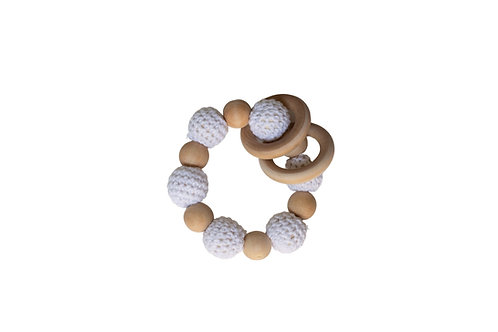 Wooden Crochet Teether -White