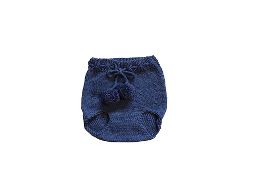 Hand Knitted Pom Pilchers/Bloomers Wool Blue 3-6mths