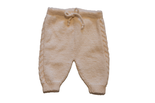 Hand Knitted Cream Cable Leggings Size 6mths
