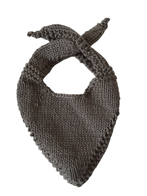 Knitted Baby Bib - Charcoal
