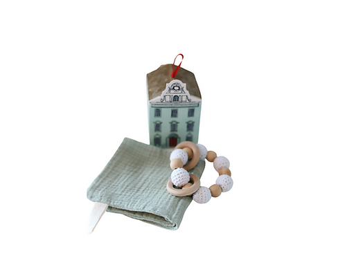 Small Gift Set - Face/Burp Cloth & Teething Ring in House Gift Box