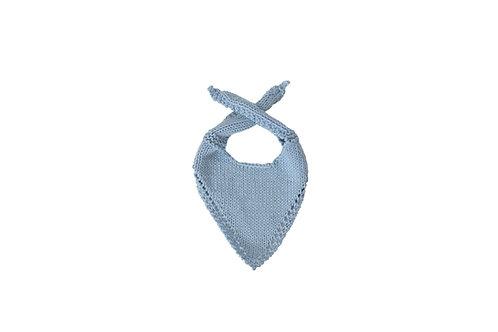 Knitted Baby Bib - Light Blue