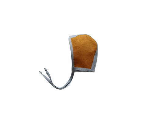 Two Tone Reversible Linen Helmet Bonnet - Duck Egg & Mustard