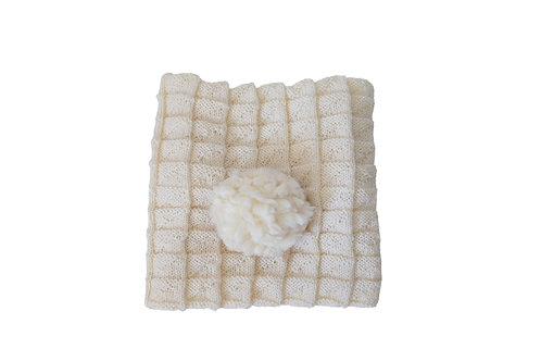 Knitted Wool Baby Blanket - Cream