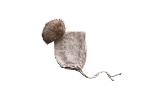 Hand Knitted Fur Pom Pixi Bonnet Winter White Wool 12-18mths