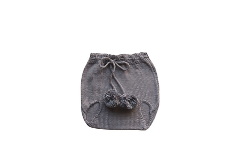 Knitted Pom Pilchers/Bloomers Light Grey0-3mths