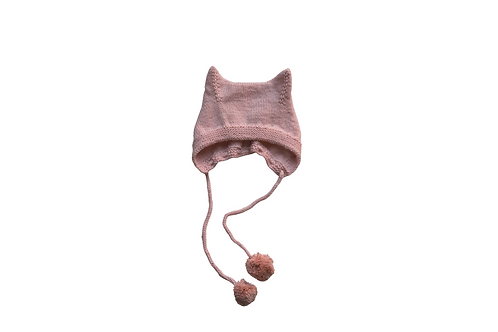 Kitty Pom Bonnet Pink Wool 3-6mths