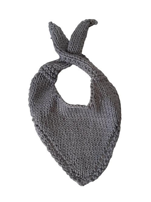 Knitted Baby Bib - Light Grey