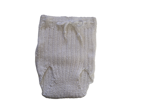 Knitted Ribbed Pilchers White Cotton 0-3mths