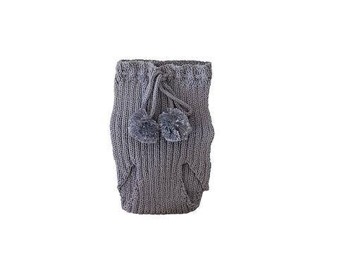 Knitted Ribbed Pom Pilchers Dark Grey 0-3mths