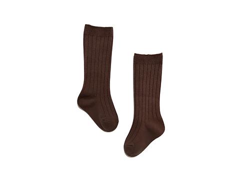 Knee High Ribbed Socks - Brown