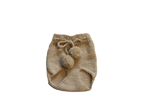 Hand Knitted Pom Pilchers/Bloomers Wool Beige 0-3mths