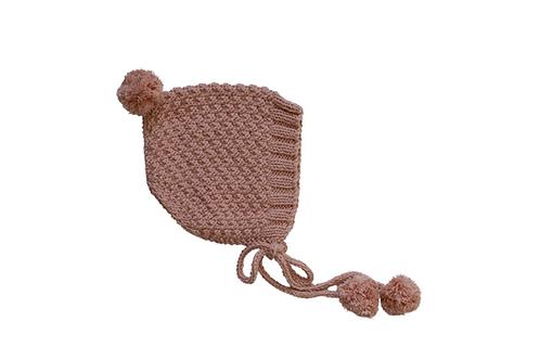 Knitted Pom Pixi Bonnet Pink 3-6mths