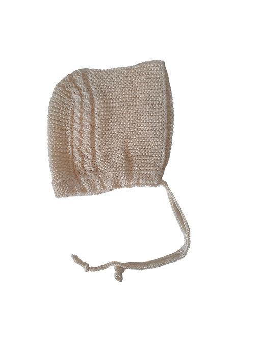 Knitted Charlotte Bonnet Cream Cotton 0-3mths