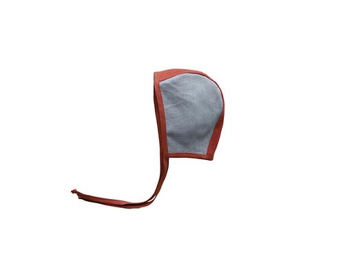 Two Tone Reversible Linen Helmet Bonnet - Duck Egg & Red Clay