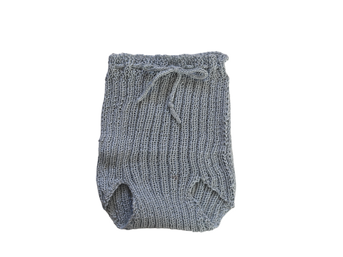 Knitted Ribbed Pilchers Light Grey Cotton 0-3mths