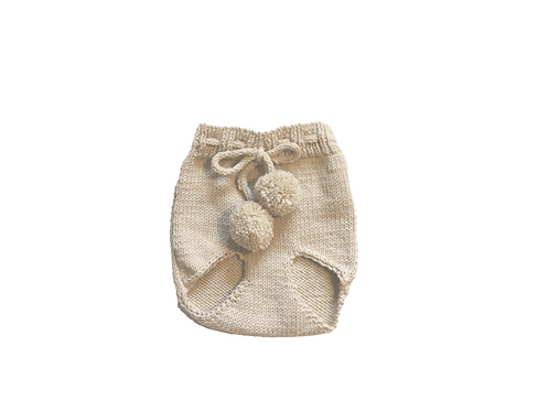 Hand Knitted Pom Pilchers/Bloomers Wool Cream 3-6mths