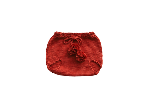 Knitted Pom Pilchers/Bloomers Rust 3-6mths