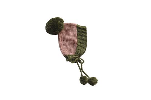 Hand Knitted Axel Bonnet Pink & Green